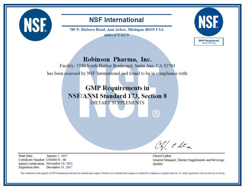 Robinsonnsf Gmp Supplement Manufacturer Certificate Nasc Live