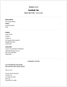 FDA Warning Letter: Curaleaf, Inc  | NASC LIVE
